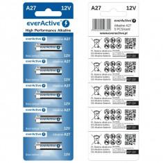 Set de 5 Baterii Alcaline A27 12 V EverActive