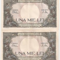 ROMANIA 2 X 1000 LEI 1941 AUNC CONSECUTIVE