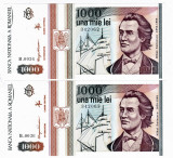 Lot 2 bancnote 1000 lei  Eminescu mai 1993 UNC serii continue (3)