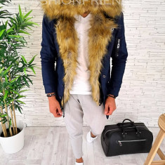 Geaca iarna PARKA - ALBASTRA - Slim fit - geaca barbati - A2520 (49-3.4), L, XL, XXL, Din imagine