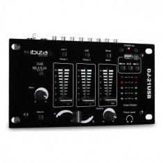 Ibiza DJ-21, mixer 3/2 canale, USB, talkover, party