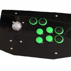 Joystick Arcade cu Butoane Verzi și Panou Negru