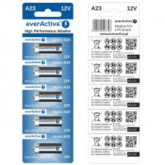Set de 5 Baterii Alcaline A23 12 V EverActive