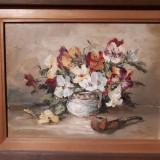Tablou pe panza cu flori, panselute, 30x40 cm, Ulei, Impresionism