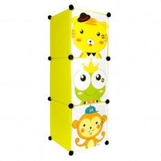 Raft cu 3 sertare pentru copii, 111 x 37 x 37 cm, model animalute