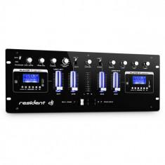 Resident DJ DJ405USB rezident dj, negru, DJ mixer cu patru canale, 2 x bluetooth, USB, SD, AUX, funcție de înregistrare