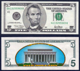SUA. USA. 5 DOLARI (DOLLAR) 2001. UNC. REVERS COLOR. LEGAL TENDER.