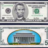 SUA. USA. 5 DOLARI (DOLLAR) 2001. UNC. REVERS COLOR. LEGAL TENDER.