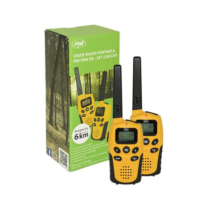 Resigilat : Statie radio PMR portabila PNI PMR R6 set cu 2bc fara incarcator Walki
