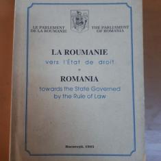 România către statul de drept, română, franceză, engleză