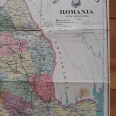HARTA FIZICA SI HARTA ADMINISTRATIVA A ROMANIEI 1969 - FATA VERSO