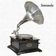 Gramofon Patrat Negru Argintiu Old Style Colectare by Homania