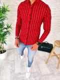 Camasa PREMIUM rosie in dungi negre - camasa barbati - slim fit A2542 I9-4
