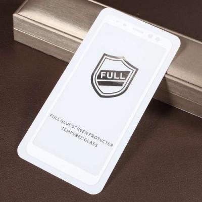 Geam Folie Sticla Protectie Display Samsung Galaxy A8 Plus A730 2018 Acoperire Completa Alb 4D foto