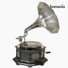 Gramofon Octogonal Negru Argintiu Old Style Colectare by Homania