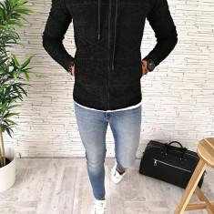 Hanorac barbati negru - hanorac barbati - hanorac slim fit - cod A2547 I7-4, L, M, XL, Bumbac, Din imagine