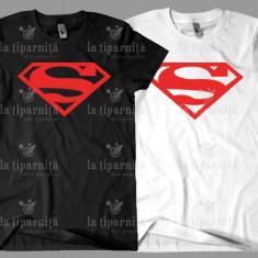 Tricou SUPERMAN, L, M, S, XL, XXL, Maneca scurta, Alb, Negru