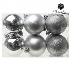 Globuri de Craciun Christmas Planet 8145 6 cm (12 uds) Argintiu