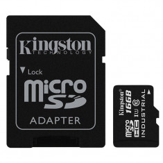 Card Kingston Industrial microSDHC 16GB 45 Mbs Clasa 10 UHS-I U1 cu adaptor SD