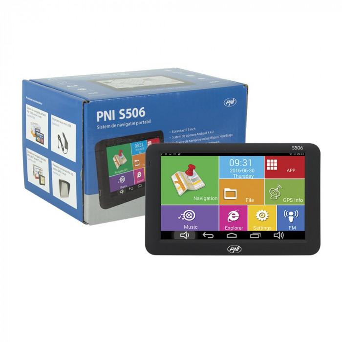 Resigilat : Sistem de navigatie GPS PNI S506 ecran 5 inch Android si Waze cu radar