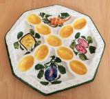 Platou - pentru oua / compartimentat - cermina - Italia - 9 oua - pictat manual