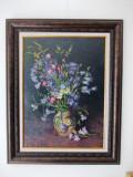 """Constantin ILIESCU (1899-1980)- """"Vas cu flori"""",ulei pe carton-82x65 cm-restaurat, Impresionism"""