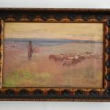 Tablou pictura semnat Stoica Dumitrescu (Stoica D.) - Ciobanas cu turma de oi, Natura, Ulei, Impresionism