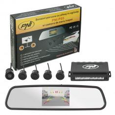 Resigilat : Senzori parcare cu afisaj in oglinda PNI P05 si camera de mers inapoi