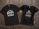 Tricou KINGS-QUEENS-BORN-IN-DECEMBER, L, M, S, XL, XXL, Maneca scurta, Alb, Negru