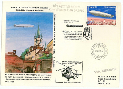 28-a, 107,  62, 761, 833 ZEPPELIN, AIRPLANE,  Romania, DDR - 5 covers - used foto