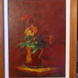 Tablou flori Dumitru Rosu, ulei pe panza, 39 x 28.5 cm, Impresionism