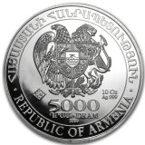 LINGOU - ARGINT 999 - NOAH'S ARK - 5000 DRAM -Rep.of Armenia - 312gr. -3.3lei/gr
