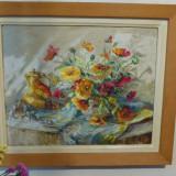 Tablou maci de Diana Vulpe, ulei pe panza, 48.5 x 39 cm, Flori, Impresionism