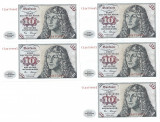 GERMANIA 5 X 10 MARK MARCI 1980 UNC CONSECUTIVE