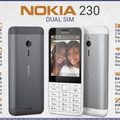 Telefon mobil Nokia 230 Dual Sim Black&White Nou Sigilat L214, Alb, Neblocat