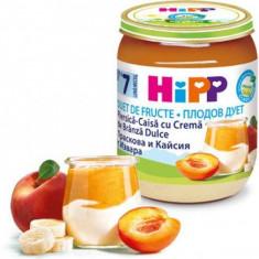 Piure Bio Fruit-Duet piersici si caise cu branza dulce pentru bebelusi 160g HiPP