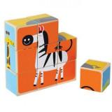 Jucarie eco din lemn Puzzle cubic Animale de la Zoo Hape