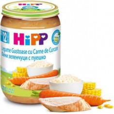 Piure Bio din legume cu orez si curcan pentru bebelusi 220g HiPP
