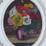 Tapiserie - goblen cu flori, 37.5 x 48 cm fara rama
