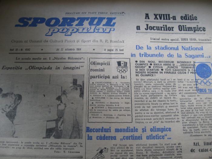 Sportul popular (22 octombrie 1964) / JO de la Tokio