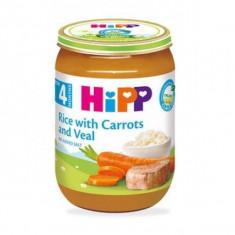 Piure Bio din morcovi orez si carne de vitel pentru bebelusi 190g HiPP
