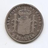 Spania 2 Pesetas  1882- Alfonso XII, Argint 10g/835, MV2 ,KM-678