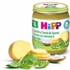 Crema Bio pentru bebelusi cu spanac si cartofi 125g Hipp