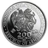 LINGOU - ARGINT 999 - NOAH'S ARK - Moneda - 200 DRAM - Rep.of Armenia - 16 gr.!