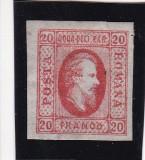 ROMANIA 1865  LP 17   ALEXANDRU  IOAN  CUZA  VALOAREA  20   PARALE  ROSU