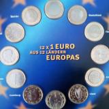 SET DE 12 BUCATI DE 1 EURO IN FOLIE, STARE  UNC !!, Europa