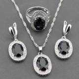 Set bijuterii din argint cu piatra semipretioasa din Zirconia Neagra