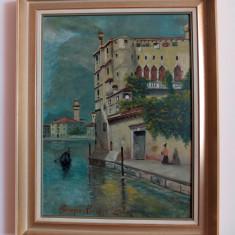 """""""Venezia: Palazzo Contarini"""", pictură în ulei de F. Smejka, Peisaje, Impresionism"""