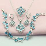 Set bijuterii din argint cu piatra semipretioasa culoarea turcoaz