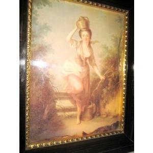 Femeie cu cofe de apa anii 1900- litografie bombata aplica gen tablou.